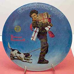 Wrapped Up for Christmas collector plate by Norman Rockwell